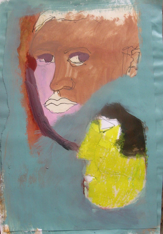 Faces, Original mixed media painting on paper
