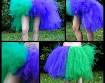 Joker Purple Green Split Trashy Knee Length Bustle TuTu Skirt MTCoffinz --- All Sizes