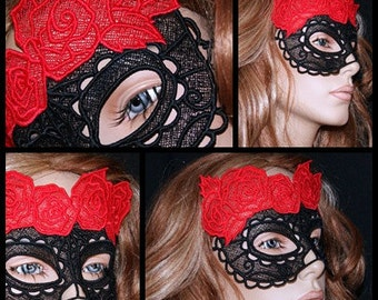 Black Red Floral Lace Masquerade Costume Mask MTCoffinz