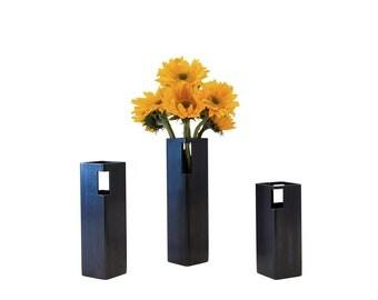 "Blackened Steel Flower Vase - 12"" Height"