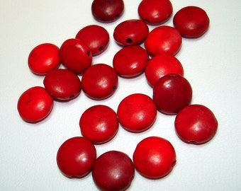 Shades of Red Synthetic Turquoise Skittle Beads (Qty 20) - B1491