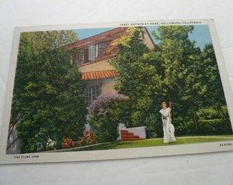 Vintage Postcard Home of Janet Gaynor Hollywood CA