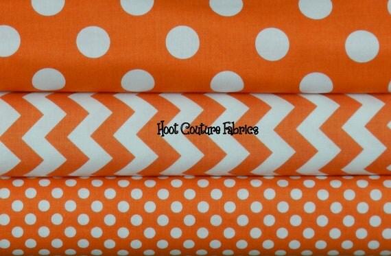Riley Blake Chevron & Dots Orange Halloween Half Yard Bundle - 1.5 yards total