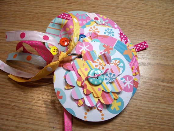 Aqua and Pink Flower Mini Premade Scrapbook Album