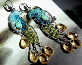 The yellow tail twin chandelier peacock earrings- sterling silver, citrine, peridot and apatite gemstones