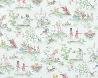 Over the Moon Nursery Rhyme Toile White fabric | Cotton Twill fabric