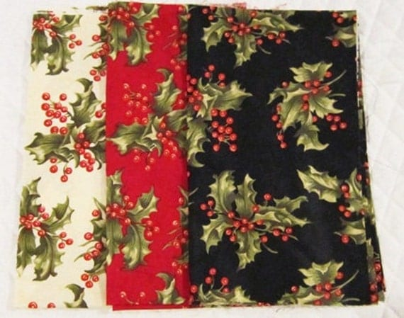 April Cornell Christmas Presence Fat Quarter Set Holly Fabric