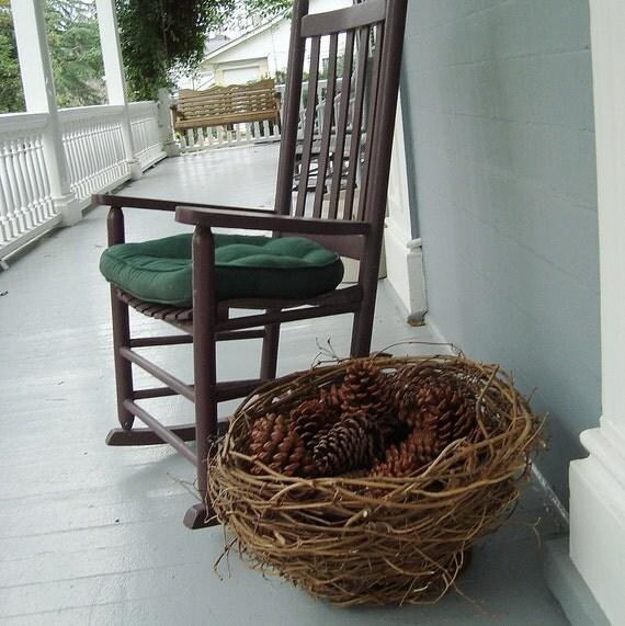 Wild Vine Basket Nest for Lawn or Porch Display Eco Friendly Autumn Wedding Program Basket Pine Cones