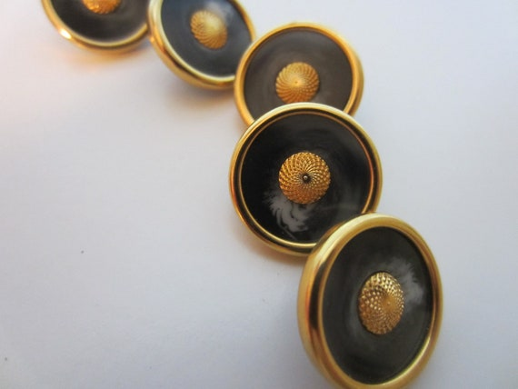 Vintage Buttons - 5 matching gold  rimmed with a animal print look center, acrylic  (2212)