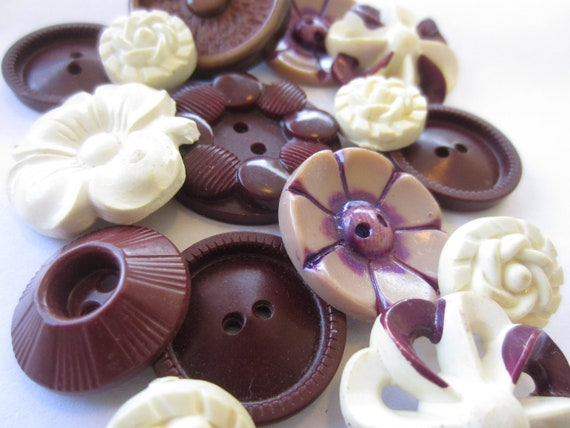 Vintage Buttons - Cottage chic mix of fancy burgandy and off whites, old and sweet- 15 total (3212)