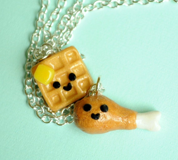 Kawaii Chicken and Waffle Best Friend Necklaces Friendship Miniature Food Jewelry