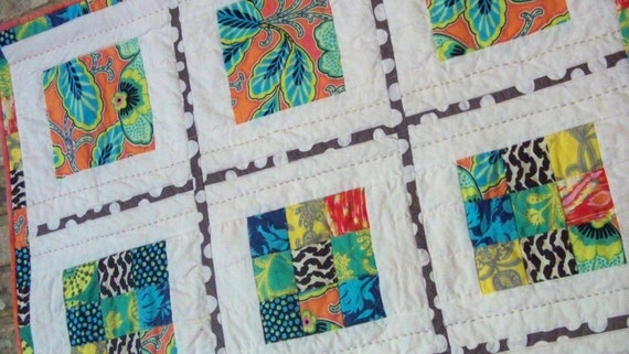 MODERN 9 PATCH, 32 in Hand and Machine Quilted Wallhanging