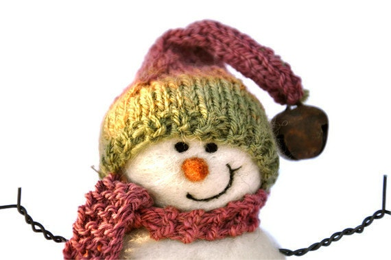 Needle Felted Snowman -  Wool Snowmen - Christmas 111