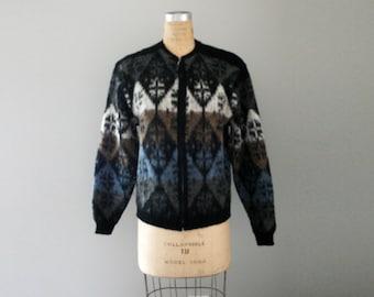 CLEARANCE vintage 50s Mens Puritan Citation Club Black Snowflake Mohair Wool Zip Up Cardigan