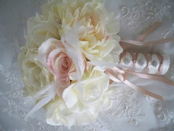 Reserved listing for.......aliceth liang......Renaissance Ivory and Champagne Bridal Bouquet Wedding Flower Package