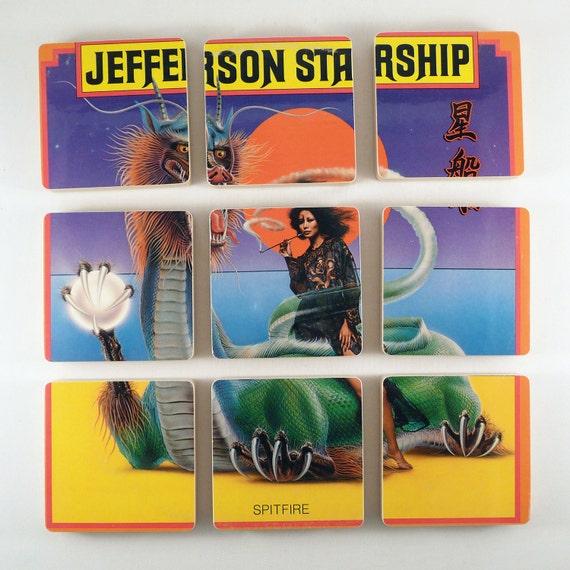 JEFFERSON STARSHIP /  Spitfire Record Album Coasters with Vinyl Bowl