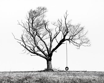 The Playmate - Winter Tree and Tire Swing, Black & White Photograph, Rustic, Wall Decor, Fine Art, Signed Print