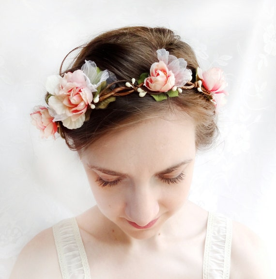 pink flower bridal wreath, bridal headpiece, blush pink hair circlet - EVER AFTER - flower girl, head wreath, garden wedding