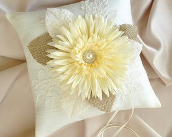Burlap and Ivory Ring Bearer Pillow - Ivory Silk Wedding Ring Bearer Pillow - READY TO SHIP