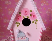 Christmas Birdhouse Hand Painted Pink Roses, SnowGirl Candy Cane Glitter Cottage Chic Snowman