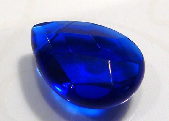 1 Focal BEAD....Cobalt Blue  Quartz Glass Faceted  Briolette Pendant Bead....25x18mm....BB