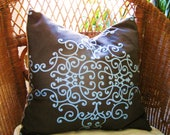CLOSEOUT, Toss, Throw, cushion pillow cover, designer Taupe and blue, 16x16 or 18x18, ready to ship.