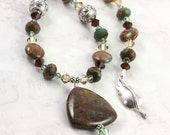 Green Opal Necklace Gemstone Brown Green Crystal Woodland Silver Leaf Clasp