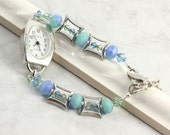 Bracelet Watch Band Blue Green Aqua Crystal Beaded Jewelry Blue Office Fashion