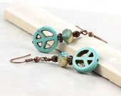 Peace Sign Earrings Turquoise Blue Copper Rustic Fashion Boho Jewelry Hippie Earrings Mothers Day Jewelry