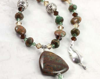 Green Opal Necklace, Silver Leaf Clasp, Brown and Green, Woodland Jewelry, Winter Fashion, Forest Green, Gemstone Pendant
