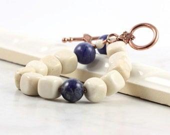 Blue Cream Fall Earth Tones Boho Bracelet Denim Sodalite Gemstone Rustic Woodland Fashion Beige Jewelry Copper Clasp Beaded Bracelet