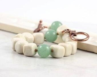Green Aventurine Boho Bracelet Soft Fall Earth Tones Cream Gemstone Rustic Woodland Fashion Beige Jewelry Copper Clasp