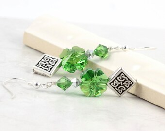 Celtic Knot Earrings Green Shamrock Irish Jewelry St Patricks Day Silver Jewelry Four Leaf Clover Eire Luck of the Irish Mothers Day Jewelry