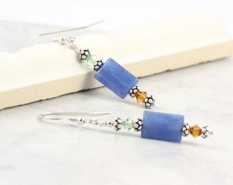 Blue Quartz Earrings Gemstone Topaz Green Crystal Sterling Silver Ear Wires Mothers Day Jewelry