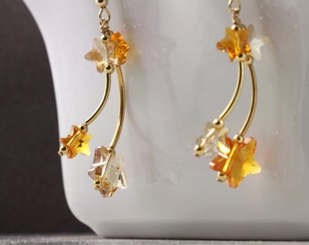Topaz Shooting Star Earrings Yellow Crystal Falling Star Jewelry Gold Celestial Fashion Mothers Day Jewelry Champagne Gold