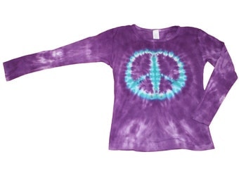 Tie Dye Shirt in Purple with an Aqua Peace Sign- Girls and  Adult Sizes Available