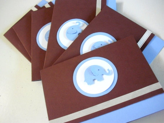 6 Baby  Blue Elephant Baby  Boy Shower Thank You, Birthday Thank you, Baby Boy Congratulations Note cards