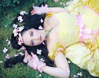 Princess Wedding Gown Fairytale Fantasy Dress in Striped Silk- Custom to Order