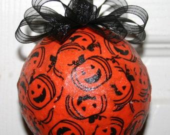 Decoupaged Halloween Pumpkins Ornament
