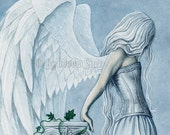 Hope PRINT Angel Blue Corset Emotion Gothic Fantasy Art Column Sky White Wings Dress 3 SIZES