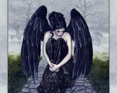 To Bid You Farewell PRINT Gothic Angel Sad Tears Crying Mourning Emotion Black Wings Rose Cemetery Fog Watercolor 3 SIZES
