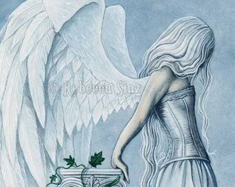 Hope PRINT Angel Blue Corset Emotion Gothic Fantasy Art Column Sky White Wings Dress 3 SIZES