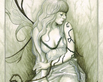 Wild Vines PRINT Fairy Fantasy Art Pale Green Ivy Wings Dress Watercolor Portrait 3 SIZES