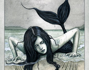 From the Dark Depths PRINT Gothic Mermaid Beach Sea Ocean Evil Water Black Scales Fantasy Art Watercolor 3 SIZES