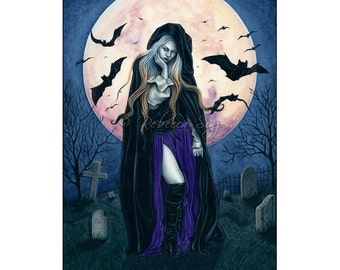 Harvest Moon ACEO print Gothic Halloween Witch Bats Artist Trading Cards ATC Fantasy Art Cemetery Tombstones Night