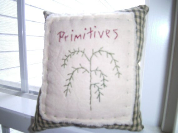 Primitive Hand Embroidered Pillow, Primitive, Tree