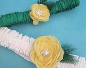 Bridal Garter set, Canary Yellow, White and Green garters,Garter set I107, bridal garter accessory garter