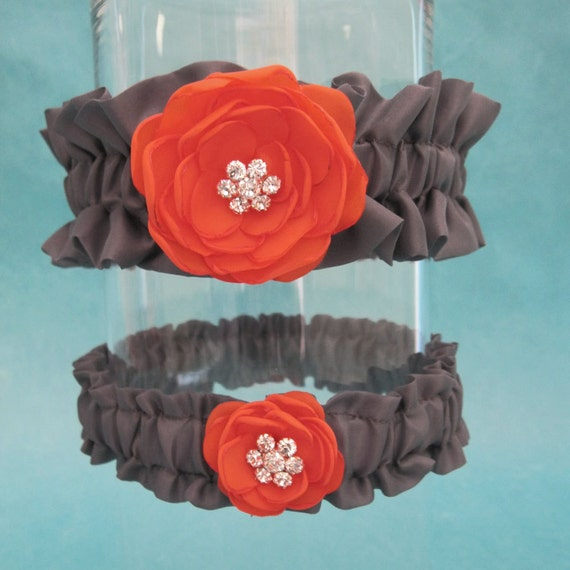 Orange and Pewter Gray bridal garter set, Flower Set I163 - Weddings garter Accessories