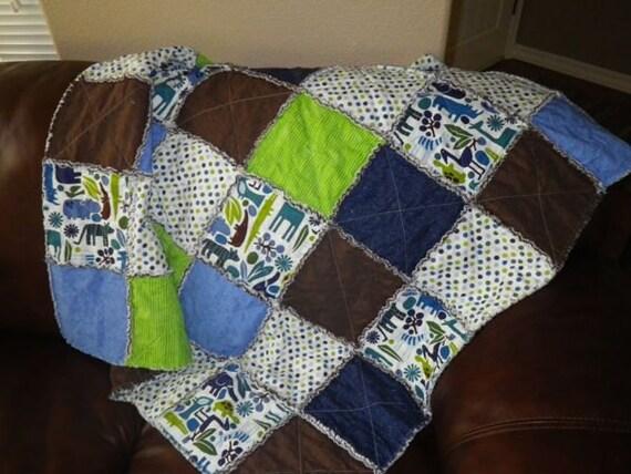 """Alexander Henry Toddler Blanket, 2D Zoo in """"Pool Blue"""""""