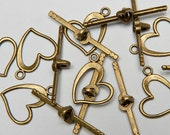16 Heart Toggle Clasps in Antiqued Brass Tone, Lead/Nickel Free Base Metal Findings, M0458-AB